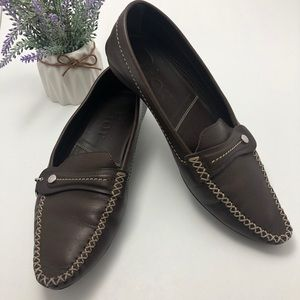 Authentic Dior Brown Leather Loafers Flats